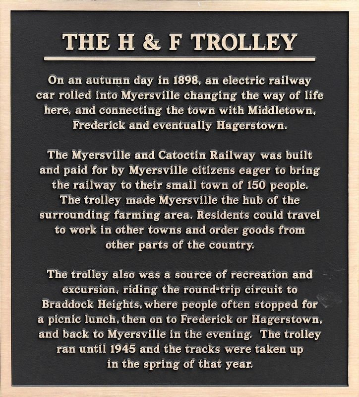 The H & F Trolley Marker image. Click for full size.