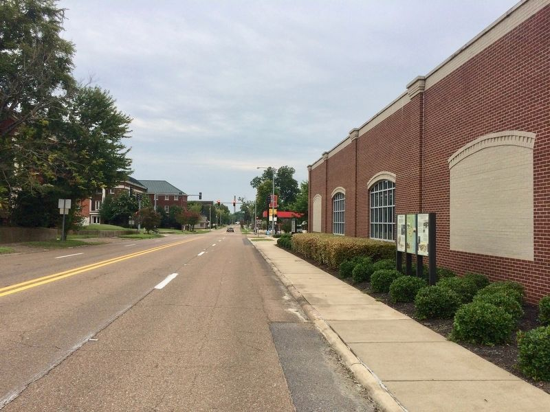 The Battle of Helena Marker looking south on Columbia Street. image. Click for full size.
