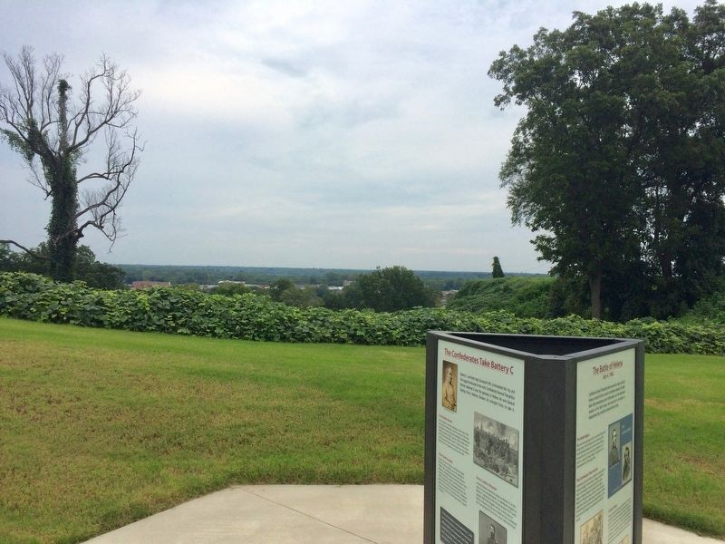 Battle of Helena Marker at top of Battery C overlooking Fort Curtis in distance. image. Click for full size.