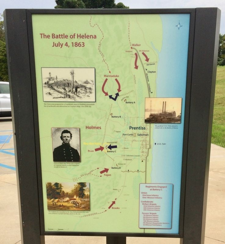 Battle of Helena map next to this marker showing Battery C regiments. image. Click for full size.