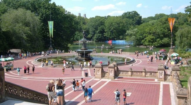 Bethesda Fountain with boaters on The Lake beyond. image. Click for full size.