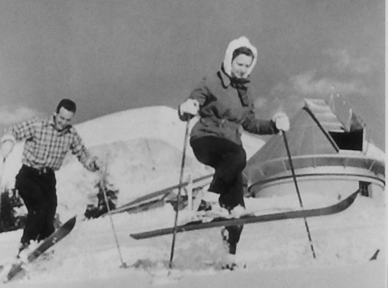 Marker Detail (<i>Dr. Walt Roberts and wife Janet skiing near observatory</i>) image. Click for full size.