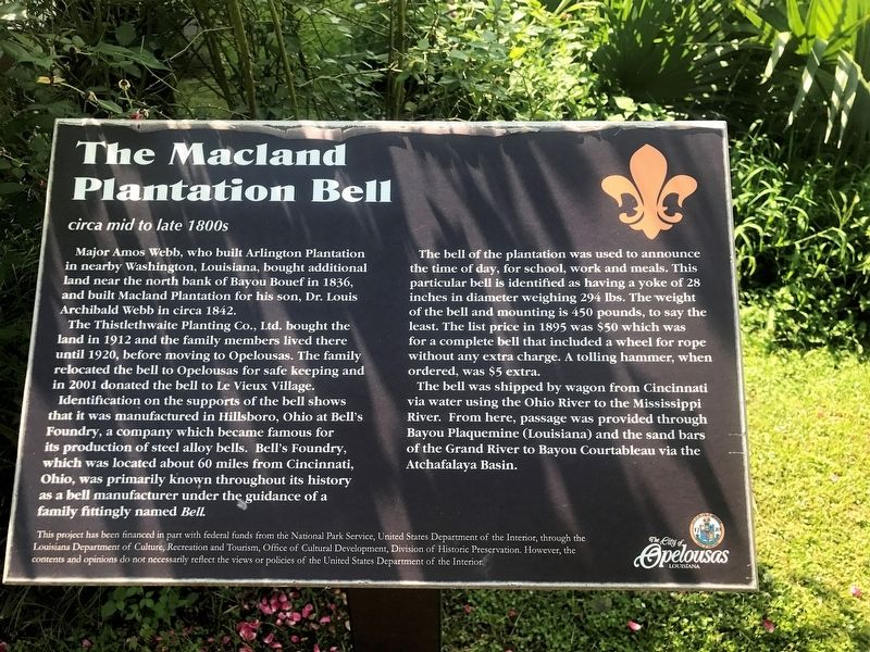 The Macland Plantation Bell Marker image. Click for full size.
