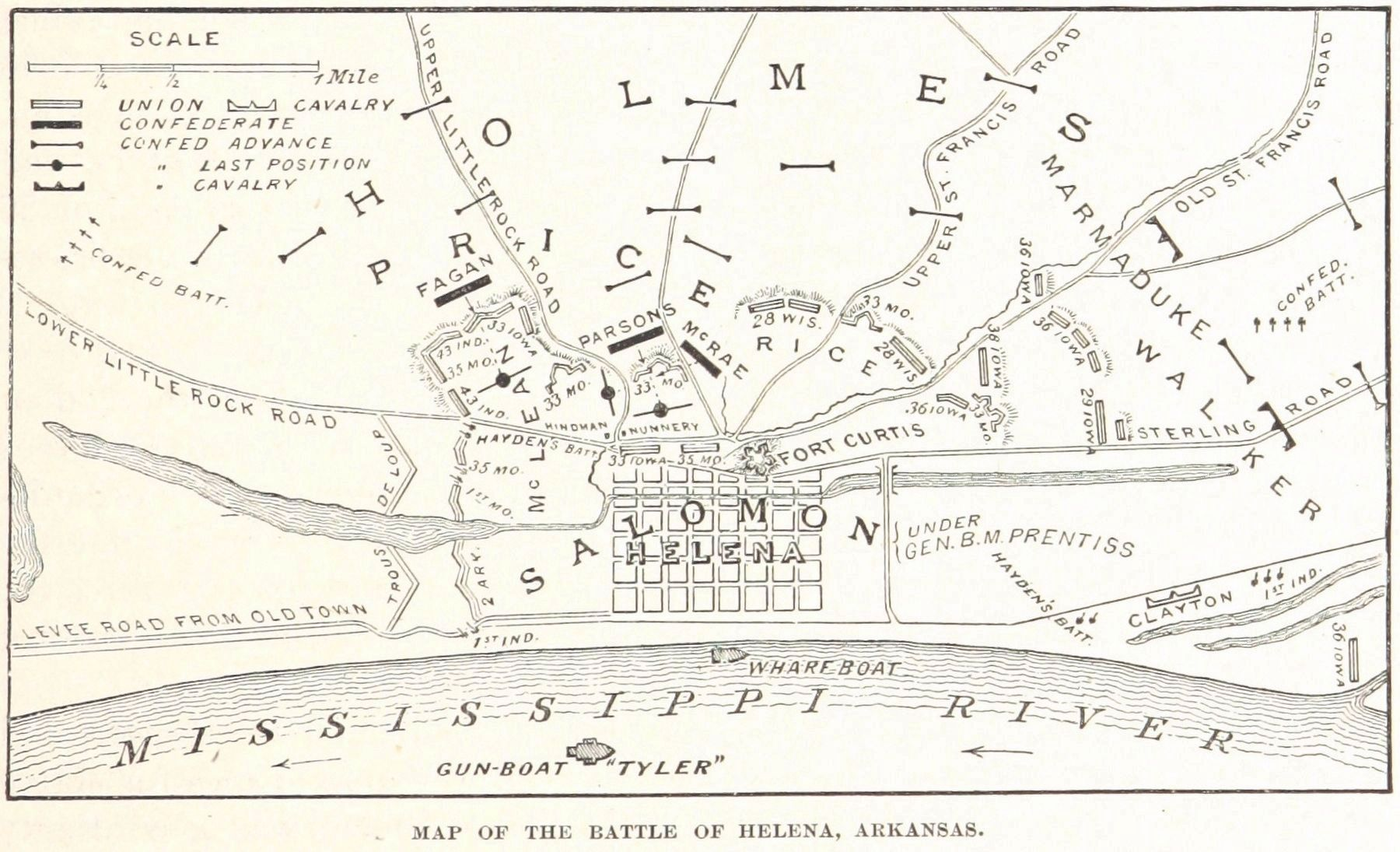 Map of the Battle of Helena. image. Click for full size.