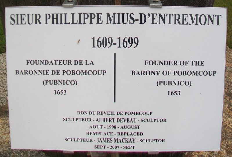 Sieur Phillippe Mius-d'Entremont Marker image. Click for full size.