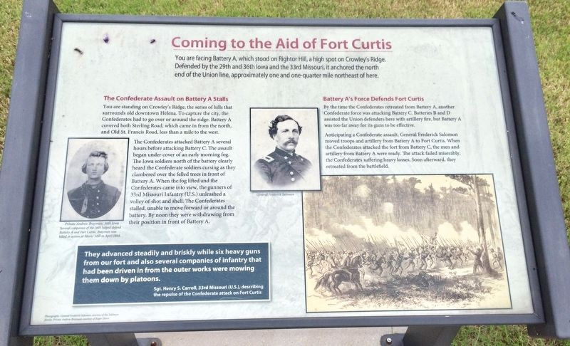 Coming to the Aid of Fort Curtis Marker image. Click for full size.