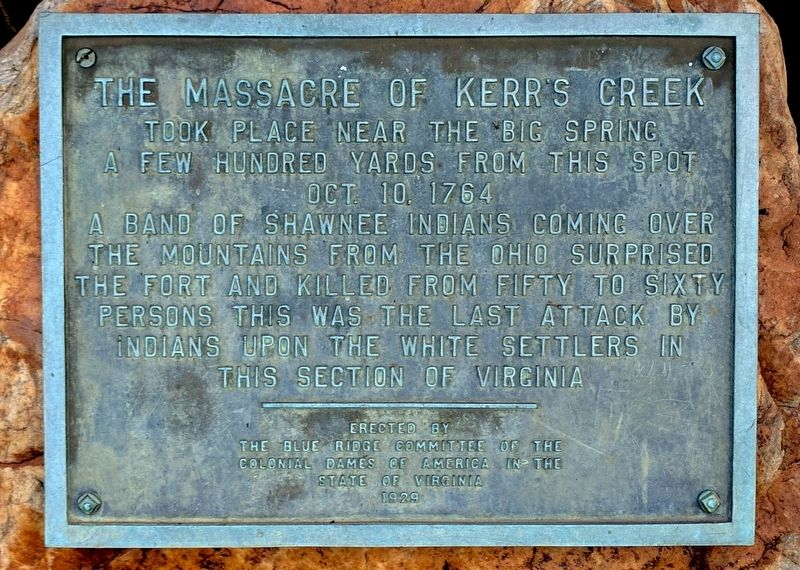 The Massacre of Kerr's Creek Marker image. Click for full size.