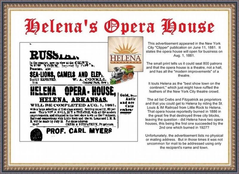 Helena Opera House advertisement. image. Click for full size.