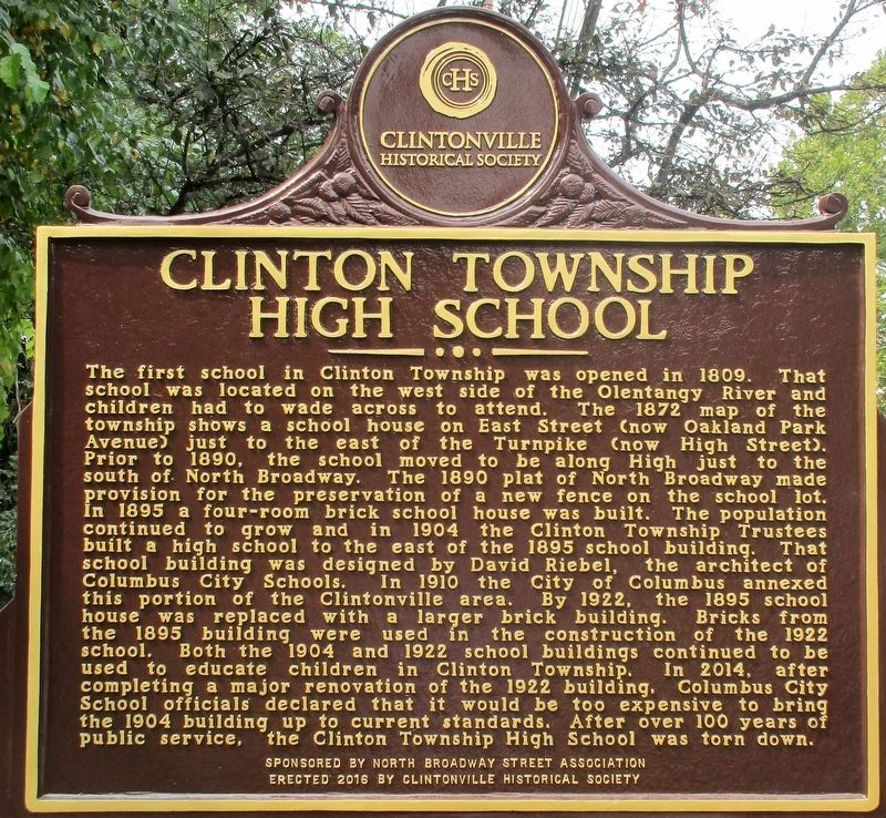 Clinton Township High School Marker image. Click for full size.