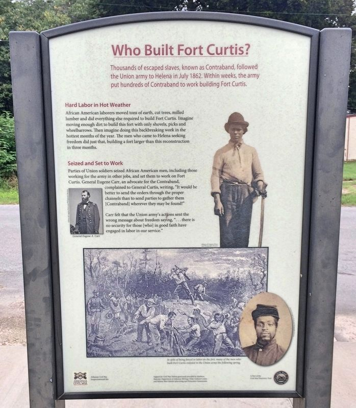 Who Built Fort Curtis Marker. image. Click for full size.
