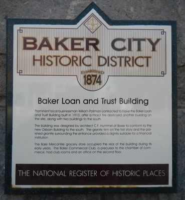 Baker Loan and Trust Building Marker image. Click for full size.