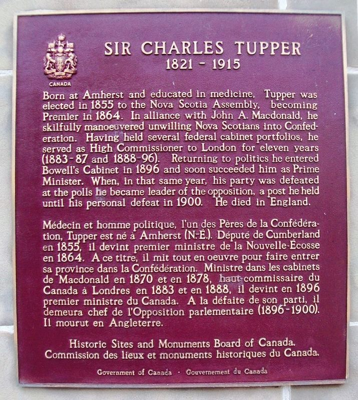 Sir Charles Tupper Marker image. Click for full size.