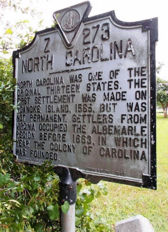 North Carolina Marker (north side) image. Click for full size.