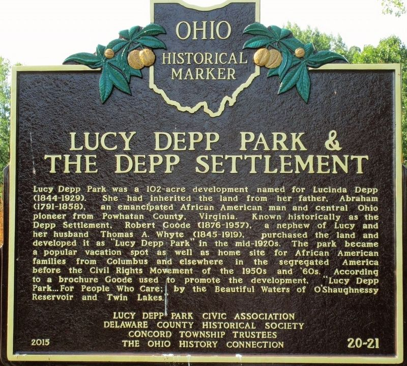 Lucy Depp Park & The Depp Settlement Marker image. Click for full size.