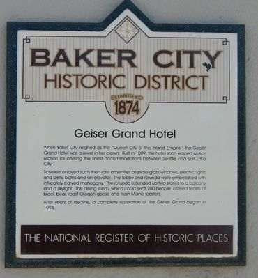 Geiser Grand Hotel Marker image. Click for full size.