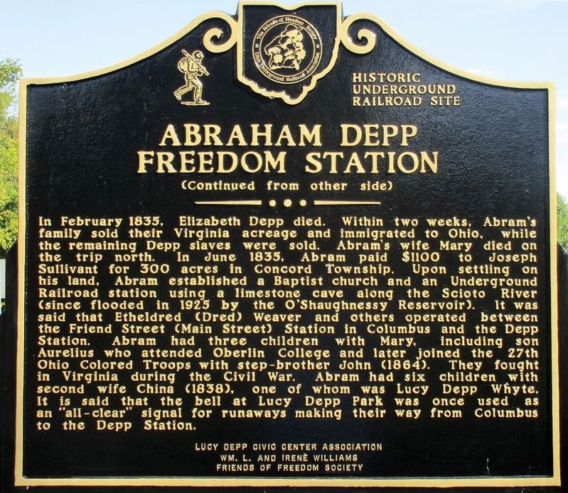 Abraham Depp Freedom Station Marker image, Touch for more information