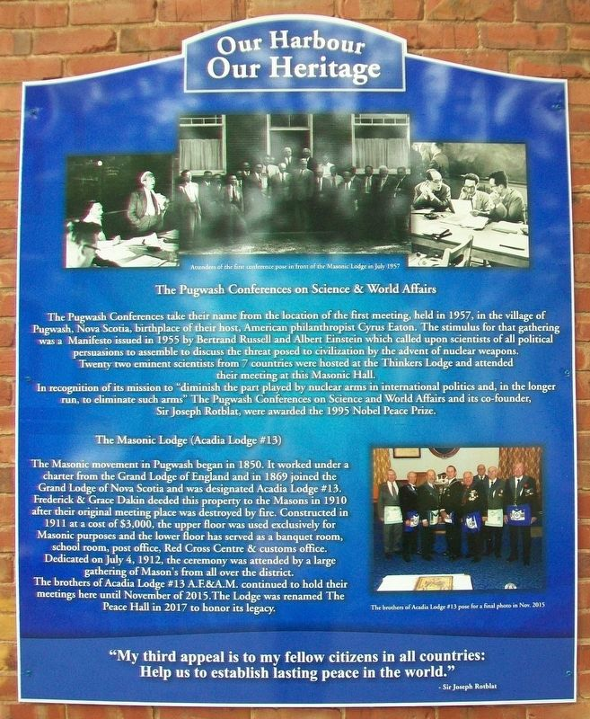 The Pugwash Conferences and Masonic Lodge Marker image. Click for full size.