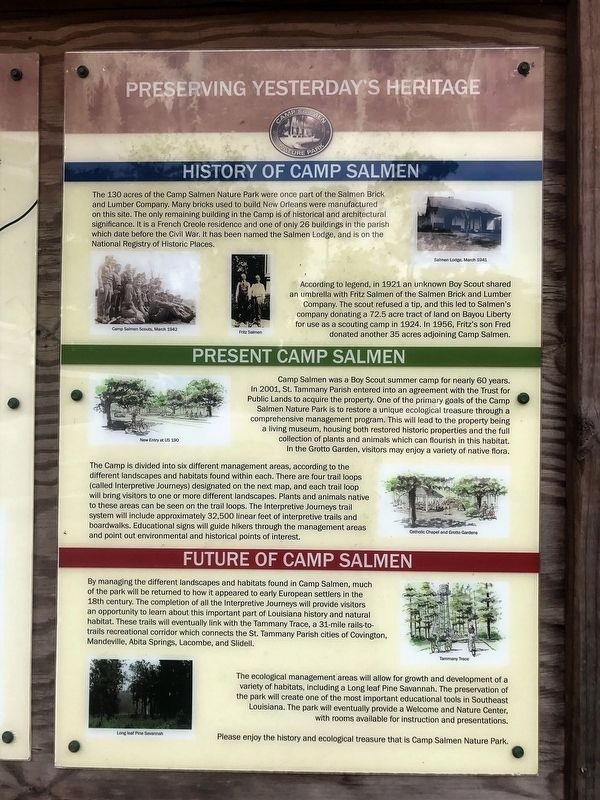 History of Camp Salmen Marker image. Click for full size.
