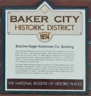 Basche-Sage Hardware Co. Building Marker image. Click for full size.