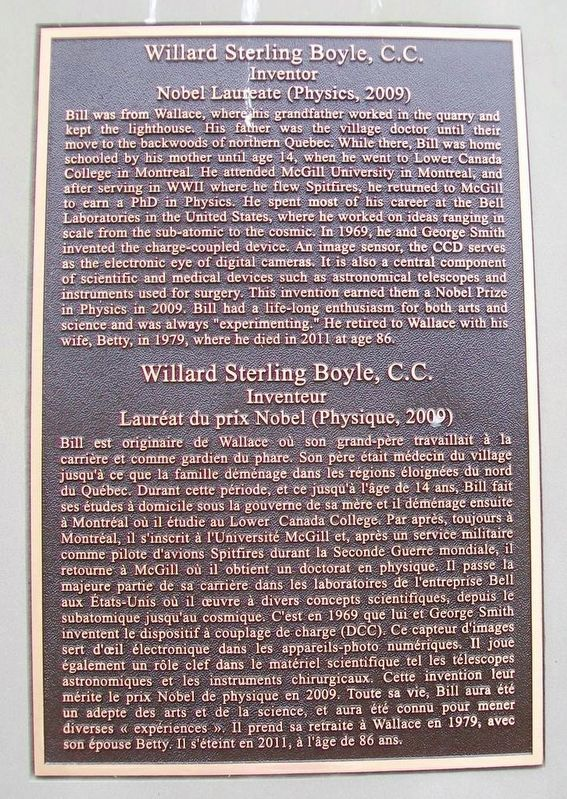 Willard Sterling Boyle, C.C. Marker image. Click for full size.