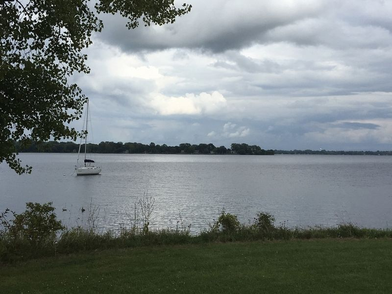 View of Lake Champlain from the spot of the marker image. Click for full size.