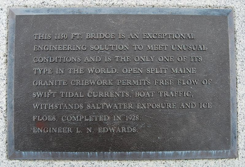 Bailey Island Bridge Marker - Plaque 2 image. Click for full size.