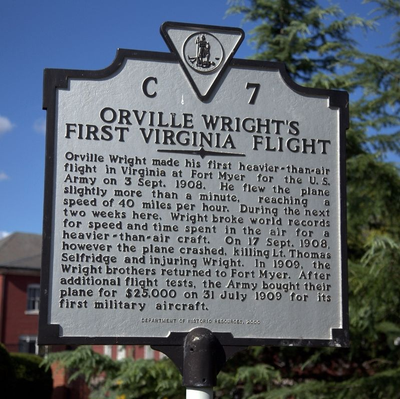 Orville Wright's First Virginia Flight Marker image. Click for full size.
