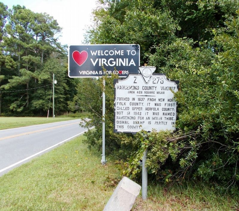 Nansemond County Virginia/North Carolina marker in year 2017. image. Click for full size.