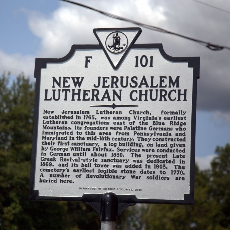 New Jerusalem Lutheran Church Marker image. Click for full size.