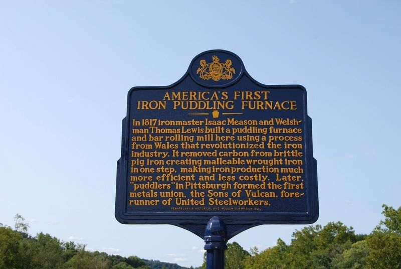 America's First Iron Puddling Furnace Marker image. Click for full size.