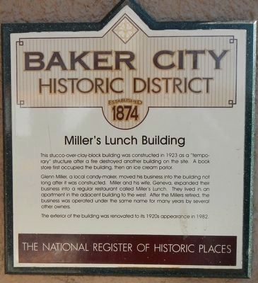 Miller's Lunch Building Marker image. Click for full size.