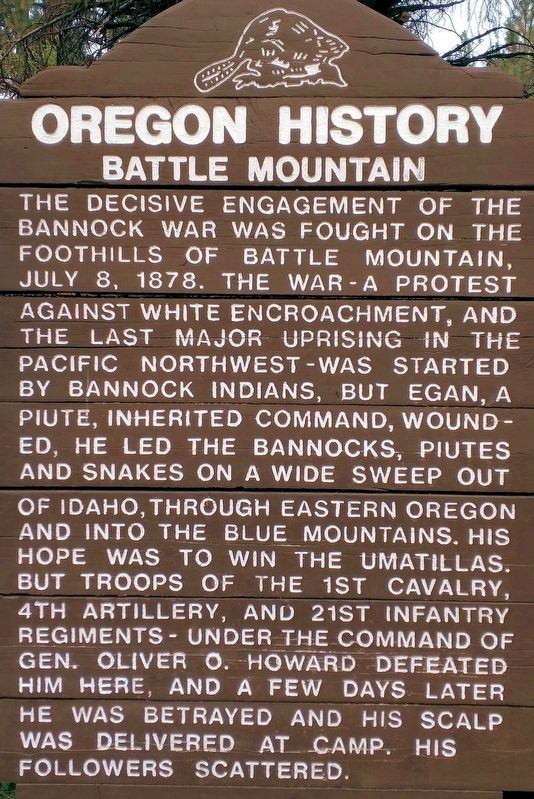 Oregon History- Battle Mountain Marker image. Click for full size.