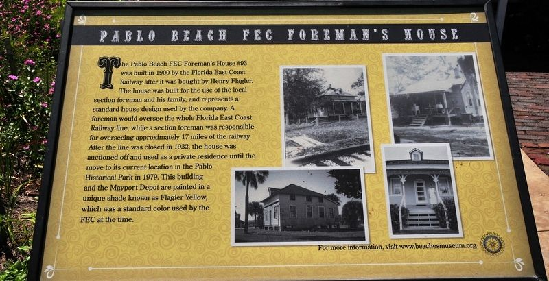 Pablo Beach FEC Foreman's House Marker image. Click for full size.