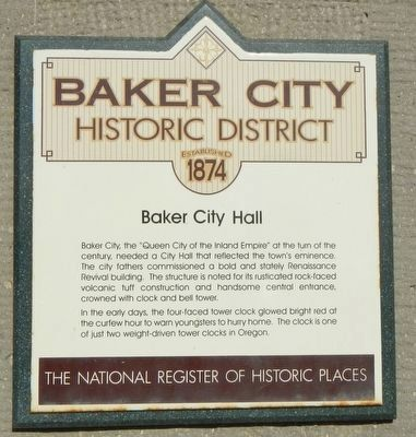 Baker City Hall Marker image. Click for full size.