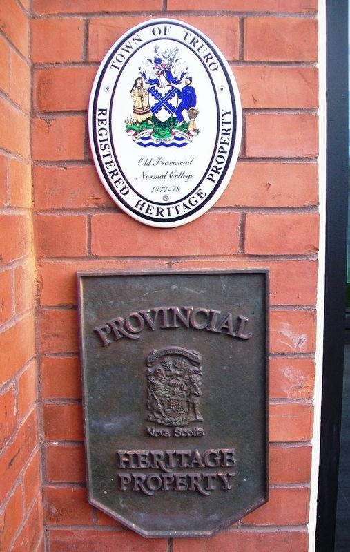 Old Provincial Normal College Heritage Property Markers image. Click for full size.