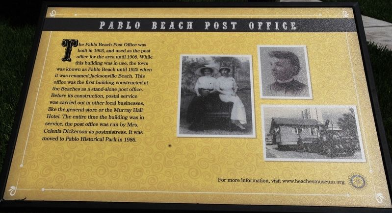 Pablo Beach Post Office Marker image. Click for full size.
