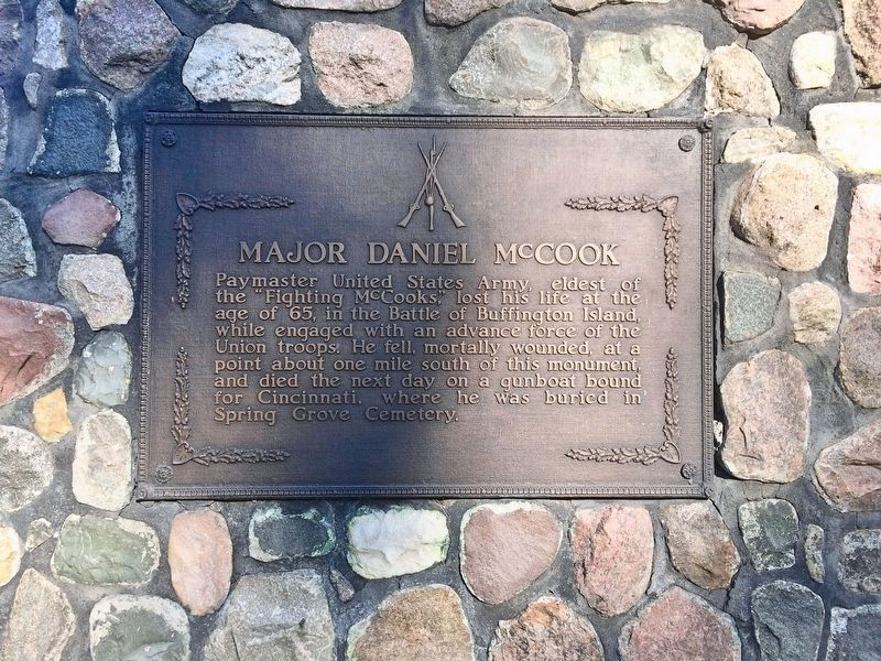 Another Major Daniel McCook plaque, one mile north at the Buffington Island Battlefield Park. image. Click for full size.