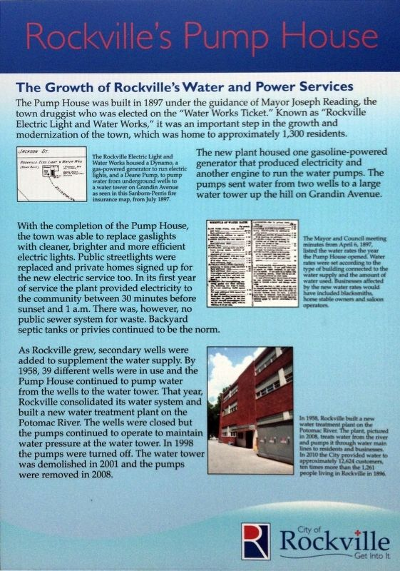 Rockville's Pump House Marker image. Click for full size.