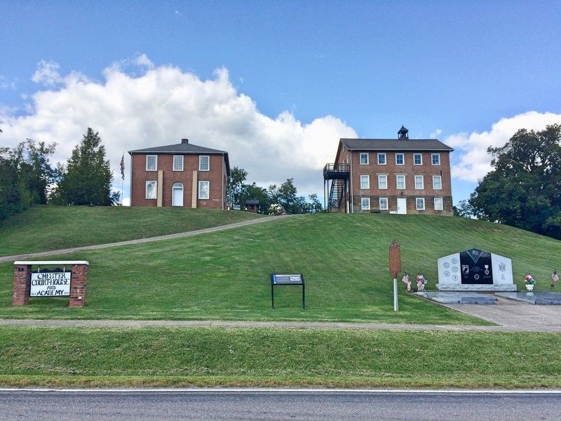 Top of the hill: Chester Academy on left and old Meigs County Courthouse on right. image. Click for full size.