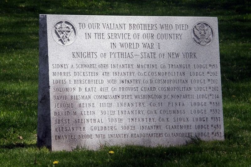 Knights of Pythias Memorial Marker image. Click for full size.