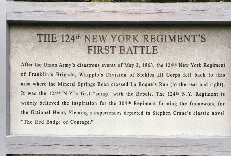 The 124th New York Regiment's First Battle Marker image. Click for full size.