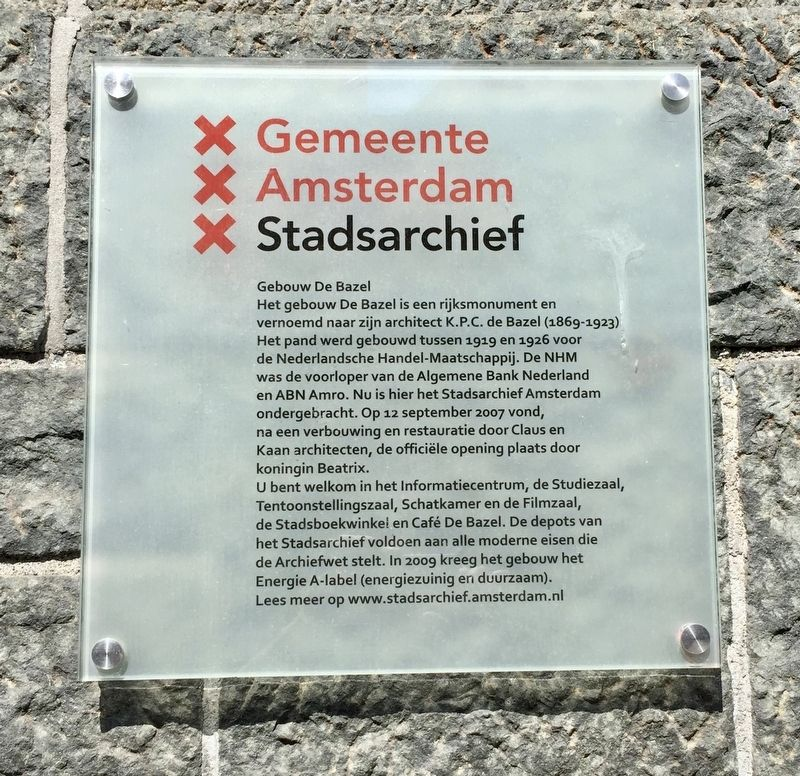 Gemeente Amsterdam Stadsarchief / Amsterdam City Archives Marker image. Click for full size.