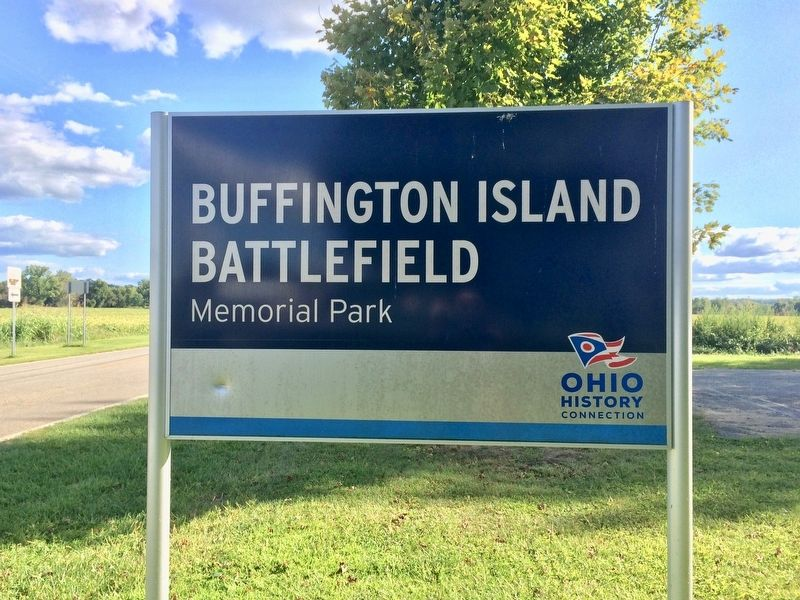 Buffington Island Battlefield entrance sign. image. Click for full size.