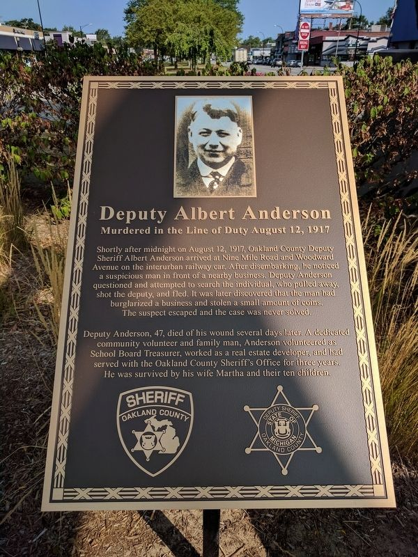 Deputy Albert Anderson Marker image. Click for full size.