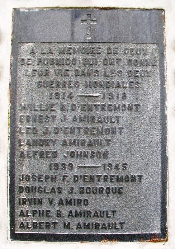 Mémorial des guerres mondiales / World Wars Memorial Marker image. Click for full size.