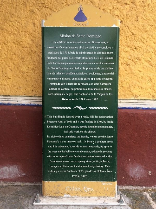 The Santo Domingo Mission Marker image. Click for full size.