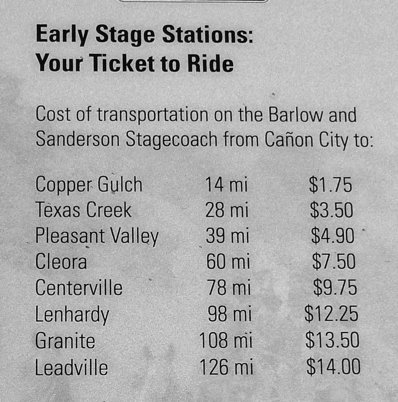 Marker Detail: Stagecoach Ticket Prices image. Click for full size.