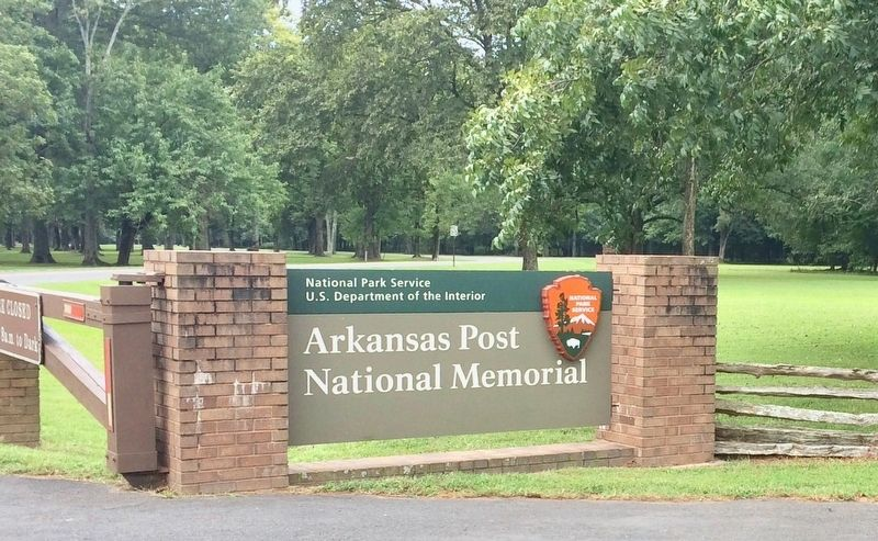 Arkansas Post National Memorial entrance sign, about 1000 feet north of marker. image. Click for full size.