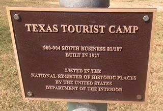 Texas Tourist Camp Complex Marker image. Click for full size.