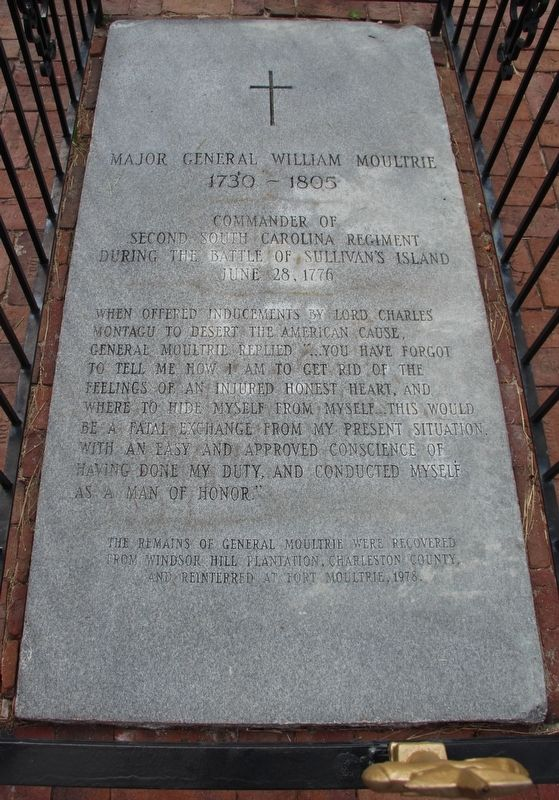 Gravestone of General William Moultrie image. Click for full size.